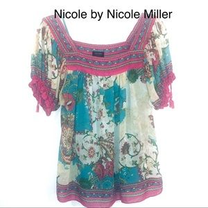 Nicole by Nicole Miller Floral Boho Top w/Cami-6